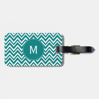 Monogram Teal and White Chevron Pattern Luggage Tag