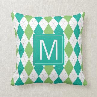 Monogram | Teal Argyle Pattern Cushion
