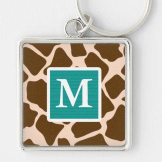 Monogram Teal Blue Brown Giraffe Print Keychain