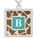 Monogram Teal Blue Giraffe Print Necklace