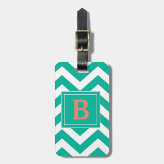 Monogram Teal Chevron Luggage Tag