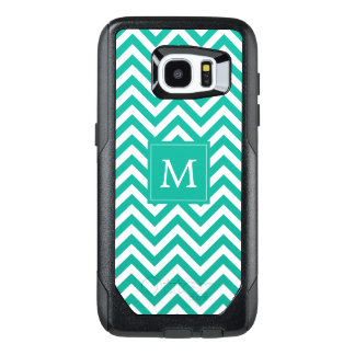 Monogram   Teal Chevron OtterBox Samsung Galaxy S7 Edge Case