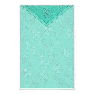 Monogram Teal Floral Stationery Design