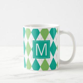 Monogram | Teal & Green Argyle Pattern Coffee Mug