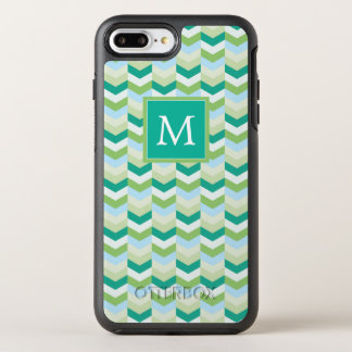 Monogram | Teal & Green Herringbone OtterBox Symmetry iPhone 8 Plus/7 Plus Case