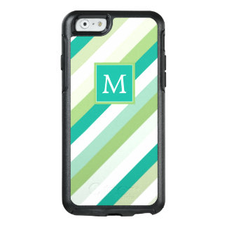 Monogram | Teal & Green Stripes OtterBox iPhone 6/6s Case
