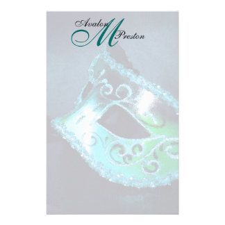 Monogram Teal Masquerade Wedding Stationery