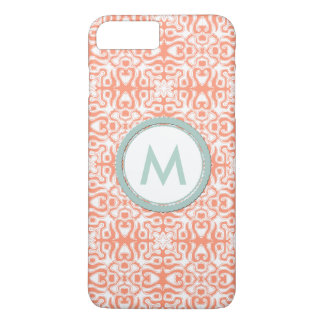 Monogram teal, peach and white abstract flirty iPhone 7 plus case