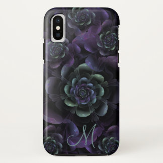 Monogram Teal Purple Lavender Black Floral