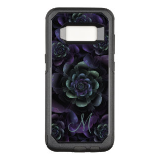 Monogram Teal Purple Lavender Black Floral OtterBox Commuter Samsung Galaxy S8 Case