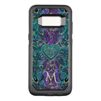 Monogram Teal Purple Mandala Celtic Heart Knot OtterBox Commuter Samsung Galaxy S8 Case