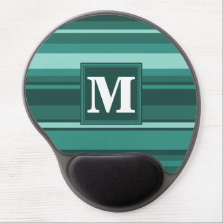 Monogram teal stripes gel mouse pad