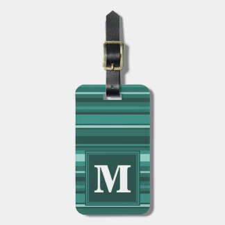 Monogram teal stripes luggage tag