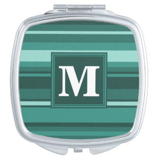 Monogram teal stripes makeup mirrors