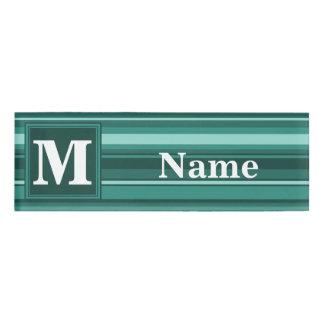 Monogram teal stripes name tag