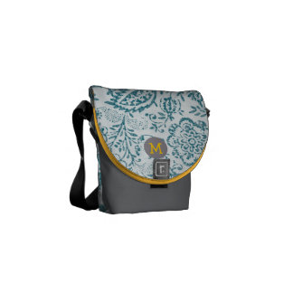 Monogram Teal Yellow Modern Vintage Floral Pattern Commuter Bags