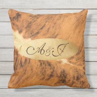 Monogram Texas Long Horn Animal Fur Print Chic Cushion