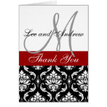 Monogram Thank You Card Damask Hot Red