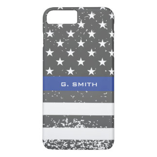 Monogram. Thin Blue Line. US American Flag. iPhone 8 Plus/7 Plus Case