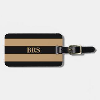 Monogram Three Black Stripe on Camel Brown Luggage Tag