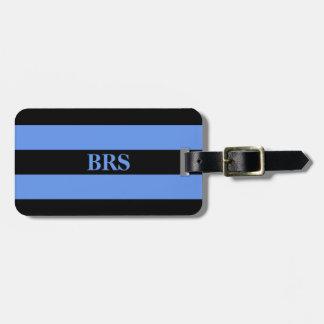 Monogram Three Black Stripe on Cornflower Blue Luggage Tag
