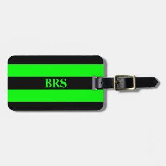 Monogram Three Black Stripe on Lime Green Luggage Tag