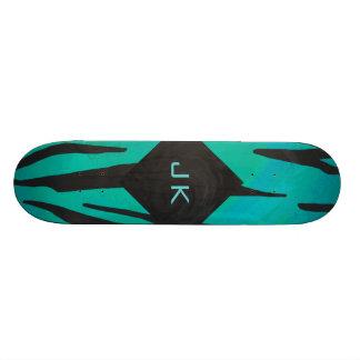 Monogram Tiger Black and Teal Print Pattern 18.1 Cm Old School Skateboard Deck