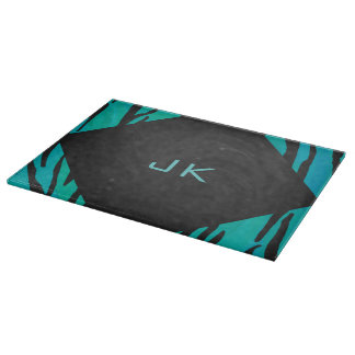 Monogram Tiger Black and Teal Print Pattern Cutting Boards