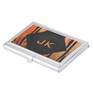 Monogram Tiger Hot Orange and Black Print Pattern Business Card Holder