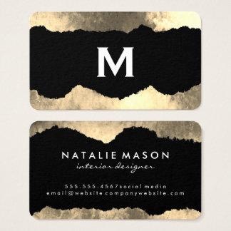 Monogram Torn Glamour Grunge Business Card
