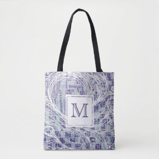 Monogram Tote Bag | Blue & Purple Swirl