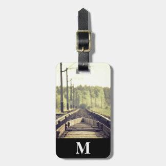 Monogram Travel Closeup of Railroad Tracks Luggage Tag