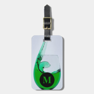Monogram Travel Glass of Green Liquor Luggage Tag