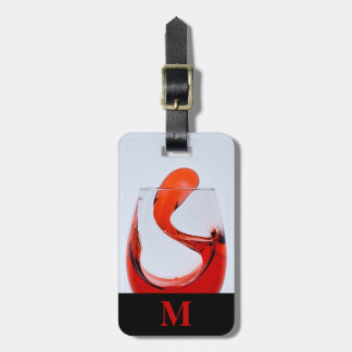 Monogram Travel Glass of Red Liquor Luggage Tag