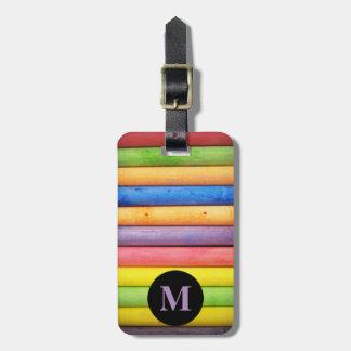 Monogram Travel  Monogram Rainbow Chalk Pastels Luggage Tag