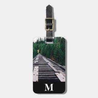 Monogram Travel Railroad Tracks Closeup Luggage Tag