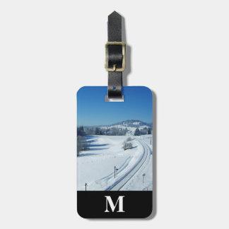 Monogram Travel Railroad Tracks thru Snow Luggage Tag