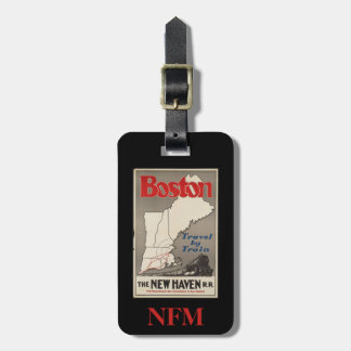 Monogram Travel Vintage Boston New Haven Railroad Luggage Tag
