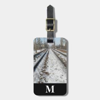 Monogram Travel Winter Snow on Railroad Trains Luggage Tag