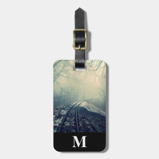 Monogram Travel Winter Snow Railroad thru Fog Luggage Tag