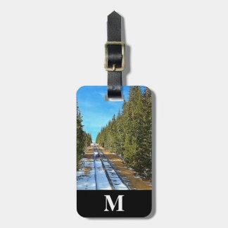 Monogram Travel Winter Snow Railroad thru Pines Luggage Tag