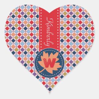 Monogram Trendy Autumn Fall Fashion Color Palette Heart Sticker