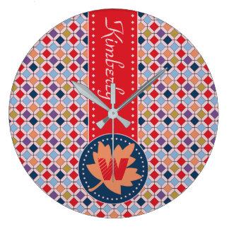 Monogram Trendy Autumn Fall Fashion Color Palette Large Clock