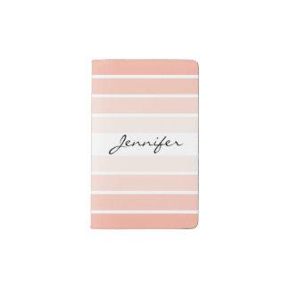 Monogram Trendy Coral Pastel Stripes Notebook