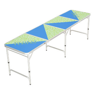 Monogram Trendy Resort Fashion Lime Green Blue Beer Pong Table