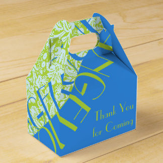 Monogram Trendy Resort Fashion Lime Green Blue Favour Box