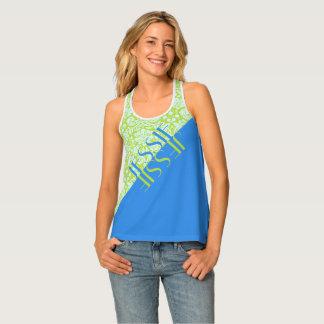 Monogram Trendy Resort Fashion Lime Green Blue Singlet
