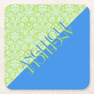 Monogram Trendy Resort Fashion Lime Green Blue Square Paper Coaster