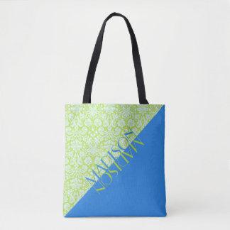 Monogram Trendy Resort Fashion Lime Green Blue Tote Bag