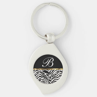 Monogram Trendy Zebra Keychains Silver-Colored Swirl Key Ring